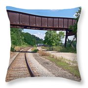Railroad Train Tracks And Trestle Throw Pillow