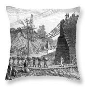 Railroad Washout, 1885 Throw Pillow