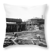 Railroad Workers, 1901 Throw Pillow