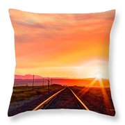 Rails To The Red Sky Throw Pillow