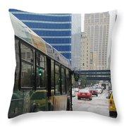 Rain And Bus Throw Pillow