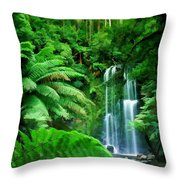 Rain Forest And Waterfall Throw Pillow
