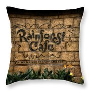 Rain Forest Cafe Signage Downtown Disneyland 01 Throw Pillow