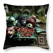 Rain Forest Cafe Signage Downtown Disneyland 03 Throw Pillow