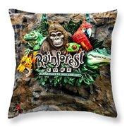 Rain Forest Cafe Signage Walt Disney World Throw Pillow