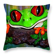 Rain Forest Frog Throw Pillow