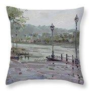 Rain In Lewiston Waterfront Throw Pillow