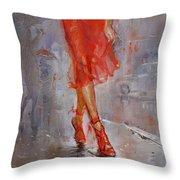 Rain In Manhattan Throw Pillow