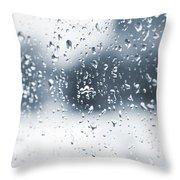 Rain In Winter Throw Pillow