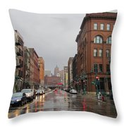 Rain On Water Street 1 Throw Pillow