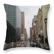 Rain On Water Street 2 Throw Pillow