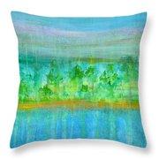 Rain  Original Contemporary Acrylic Painting On Canvas Throw Pillow