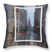 Rain Water Street W City Hall Throw Pillow