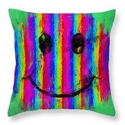 Rainbow Abstract Smiley Face Throw Pillow