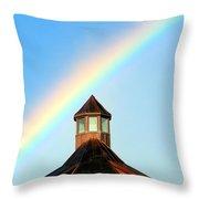 Rainbow Against Blue Sky Throw Pillow