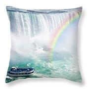 Rainbow And Tourist Boat At Niagara Falls Throw Pillow