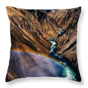 Rainbow At The Grand Canyon Yellowstone National Park Throw Pillow