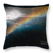 Rainbow At Waterfall Base Throw Pillow