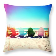 Rainbow Beach Photography Light Leaks2 Throw Pillow