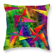 Rainbow Bliss - Pin Wheels - Painterly - Abstract - H Throw Pillow