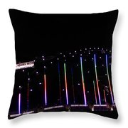 Rainbow Bridge And Super Moon Throw Pillow