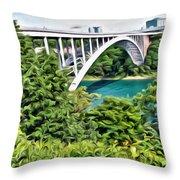 Rainbow Bridge View Throw Pillow