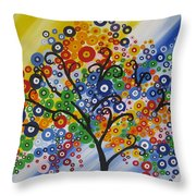 Rainbow Bubble Tree Throw Pillow