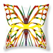Rainbow Butterfly Abstract Nature Artwork Throw Pillow