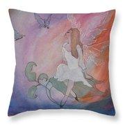 Rainbow Butterfly Fairy Throw Pillow