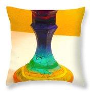 Rainbow Candlestick Throw Pillow