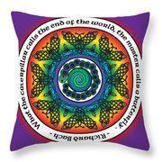 Rainbow Celtic Butterfly Mandala Throw Pillow
