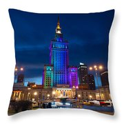 Palace Of Science And Culture In Rainbow Colors  Throw Pillow