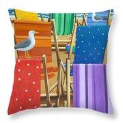 Rainbow Deckchairs Throw Pillow