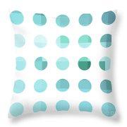 Rainbow Dots Aqua  Throw Pillow