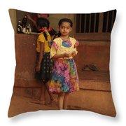 Rainbow Dress. Indian Collection Throw Pillow
