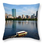 Rainbow Duck Boat On The Charles Throw Pillow