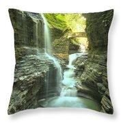 Rainbow Falls Bridge Throw Pillow