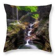 Rainbow Falls Of Watkins Glen Throw Pillow
