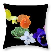Rainbow Flowers  Throw Pillow