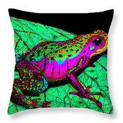 Rainbow Frog 3 Throw Pillow