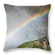 Rainbow From Spray Of Lower Yellowstone Falls Against Yellowstone Canyon Wall-wyoming  Throw Pillow