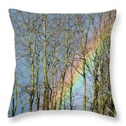 Rainbow Hiding Behind The Trees Throw Pillow