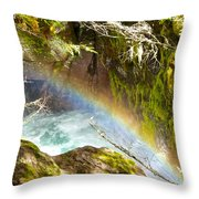 Rainbow In Avalanche Creek Canyon In Glacier National Park-montana Throw Pillow