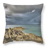 Rainbow In Storm Clouds Pointe De Saint Cast  Throw Pillow