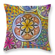 Rainbow Mosaic Circles And Flowers Throw Pillow