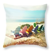 Rainbow Of Adirondack Chairs IIII Throw Pillow