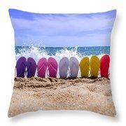 Rainbow Of Flip Flops On The Beach Throw Pillow