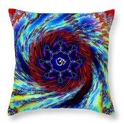 Rainbow Om Fractal Swirl Throw Pillow