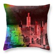 Rainbow On Chicago Mixed Media Textured Throw Pillow