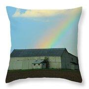 Rainbow On The Farm Throw Pillow